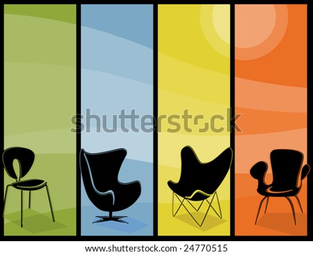 Retro stylized chair Icons with mid-century modern flair.