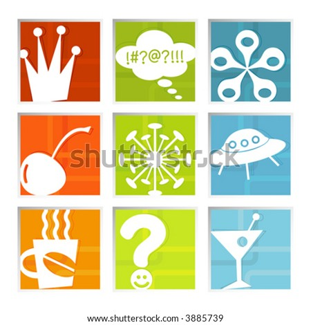 Retro-stylized colorful set of fun icons in beveled frame; symbols kept whole so you can move them around, Easy-edit layered file