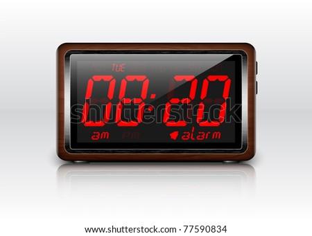 Retro stylized Digital Alarm Clock. Vector