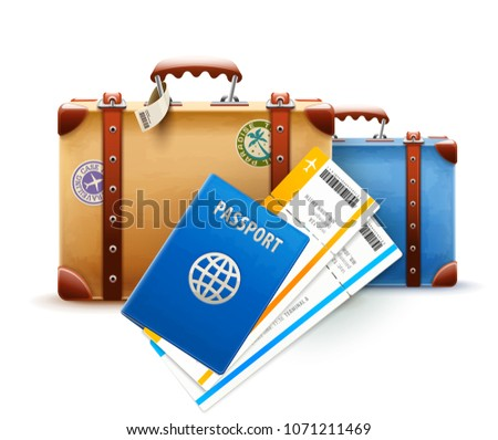 Retro suitcases, passport and airline tickets for travel. Suitcases with stickers, international documents and boarding passes to flight on airplane, isolated white background. EPS10 vector.