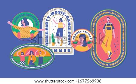 Retro Summer Badge Vintage Fashion Illustration Pop Color Style Flat Design 90s Logo Brand Art Sticker