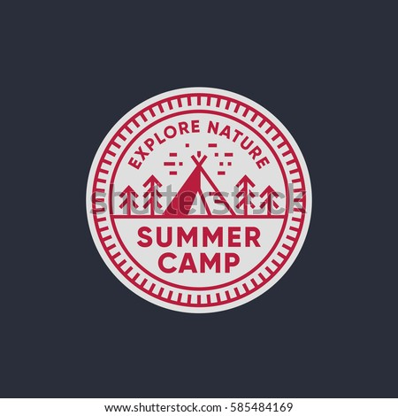 Retro summer camp badge graphic logo emblem design