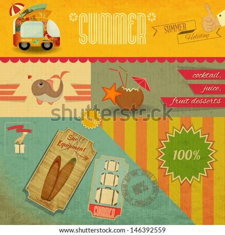 retro summer card. vacation...