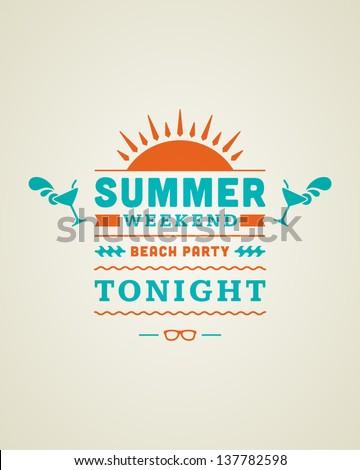 Retro summer design poster. Summer holidays typography. Vector illustration.