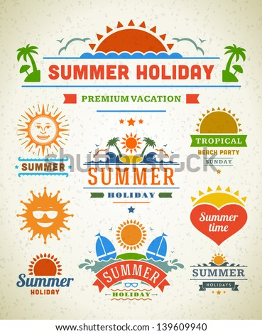 Retro summer labels and signs. Summer holidays typography. Vector illustration design elements.