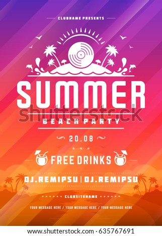 Retro summer party design poster or flyer on abstract background. Night club event typography. Vector template illustration EPS 10. #635767691