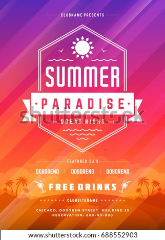 Retro summer party design poster or flyer on abstract background. Night club event typography. Vector template illustration. #688552903
