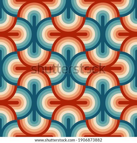 Retro summer 70s rainbow stripes pattern. Retrowave 80s art retro rainbow illustration. Seamless vector background. turquoise and orange retro colors 1970s. Abstract geometric background.