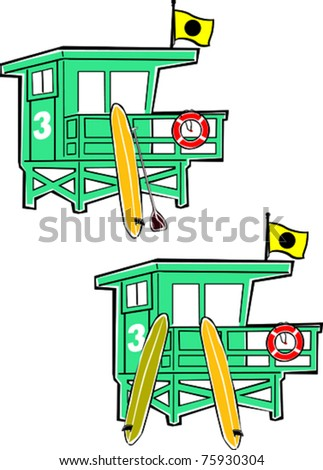 Retro Summer Surf and Paddle Lifeguard Tower Set Vector Illustration