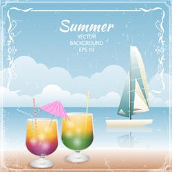 Retro summer vacation design with cocktails and boat. Vector illustration.