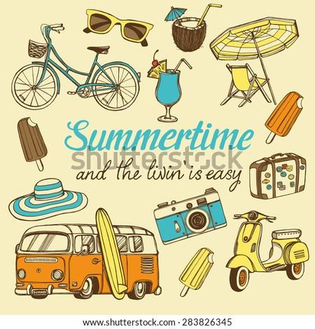 retro summer vacation set with
