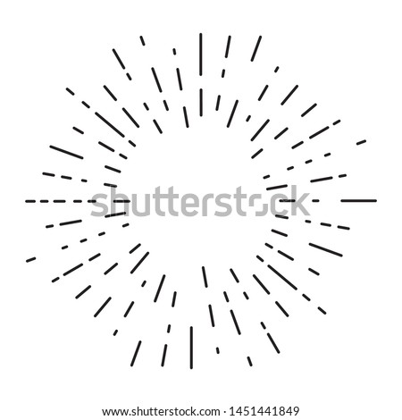Retro sun bursts, Vintage radiant sun rays shape for logo, labels or emblems and typography decoration template vector Illustration isolated on white background