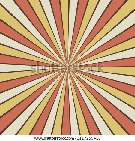 Retro sunburst background pattern vector in yellow orange white and purple colors, cool groovy starburst zoom effect