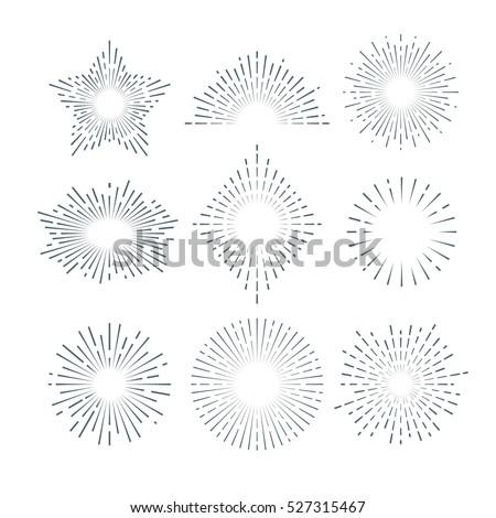 Retro sunburst, radiant starburst, vintage abstract sunshine line vector set.