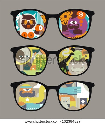 Retro sunglasses with abstract pictures  reflection in it. Vector illustration of accessory - eyeglasses isolated.