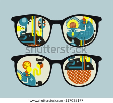 Retro sunglasses with alien reflection in it. Vector illustration of accessory - eyeglasses isolated.