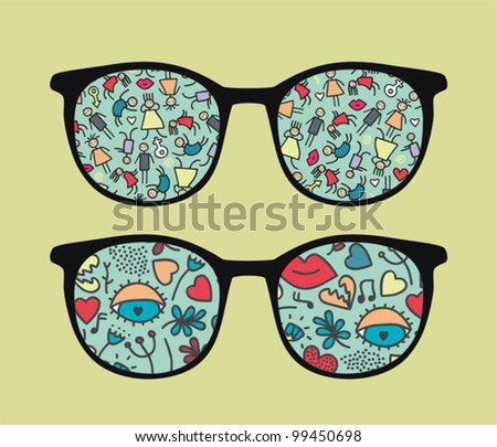 Retro sunglasses with people reflection in it. Vector illustration of accessory - eyeglasses isolated.