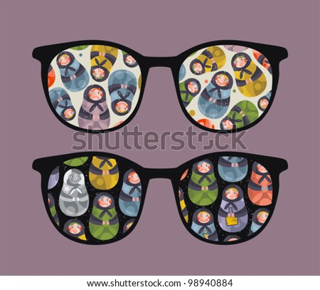 Retro sunglasses with ugly dolls reflection in it. Vector illustration of accessory - isolated eyeglasses. - stock vector