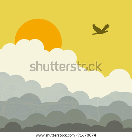 retro sunny sky with clouds and