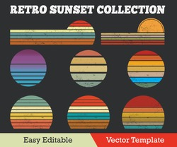 Retro Sunset Collection Grunge Effect Vector Template.