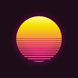 Retro sunset in 80`s style. Retrowave, synthwave futuristic background. Template design for cyber or sci-fi abstract concept.  Vector illustration