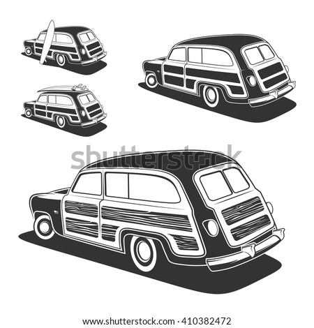 retro surfboard woodie wagon