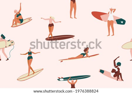 retro surfing seamless pattern