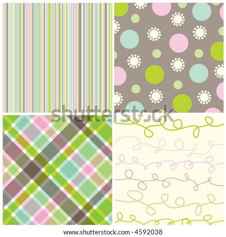 retro sweet pink green pattern combo (vector) - illustrated pattern
