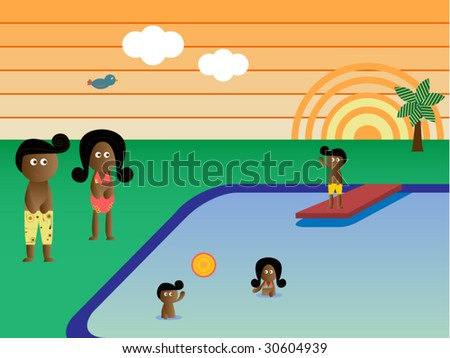 Retro Swimming Pool  Landscape African American Family Vacation