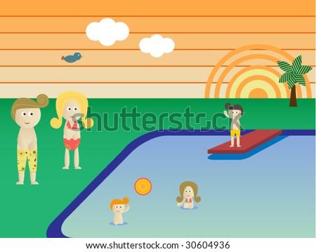 Retro Swimming Pool  Landscape Family Vacation