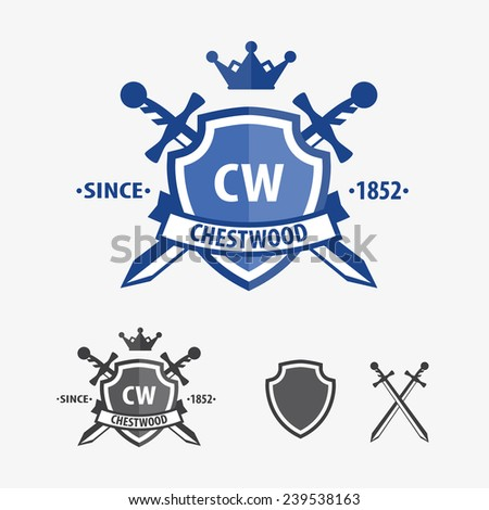 retro sword badges and shields