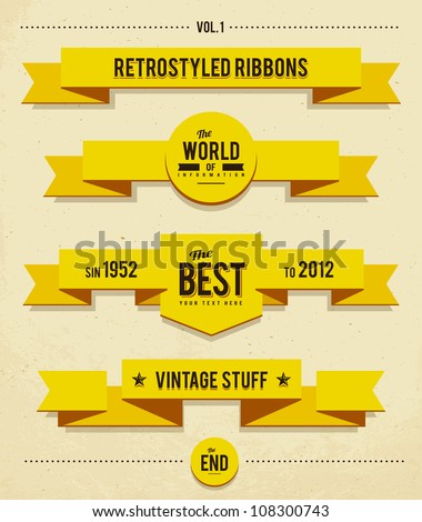 Retro syled ribbons vector set.