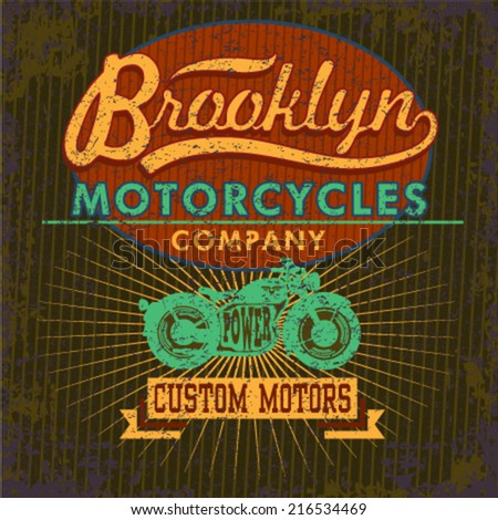 Retro t-shirt print design with a green motorcycle graphic Vintage poster design