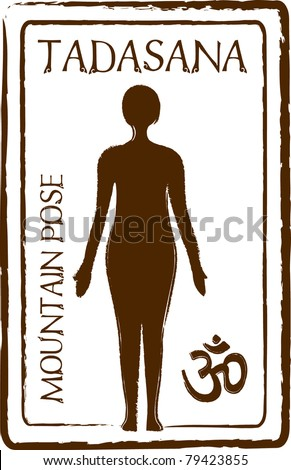 Retro Tadasana Mountain Yoga Pose in Passport Stamp Style Vector Illustration