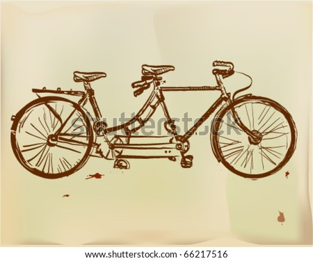 Retro tandem bicycle with lady-back, pen drawing