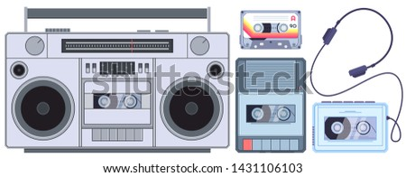 Retro tape player. Vintage cassette music players, old sound recorder and audio cassettes. Stereo acoustic dj sound analogue boombox pop music player. Isolated vector illustration icons set
