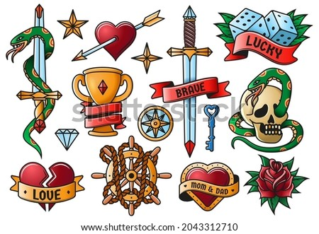 Retro tattooing rose, knife, heart, skull old school symbols. Vintage tattoo engraving elements isolated vector illustration set. Old school art tattoos. Emblem rose and cup, goblet and dice
