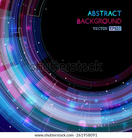 Retro technology circle illustration. Abstract vector template. There is place for your text.