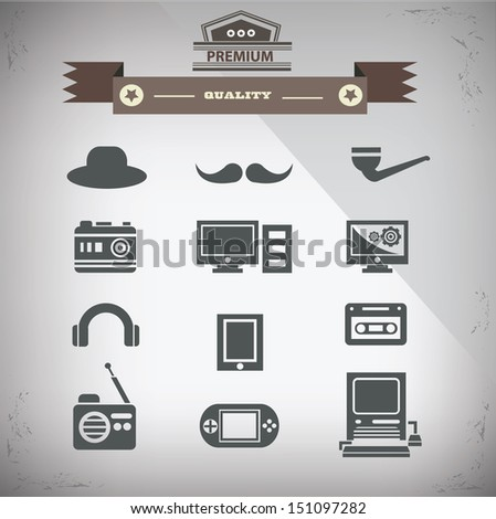 Retro technology icons,Old technology,vector