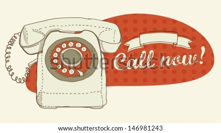 Retro telephone and place for text, Vector