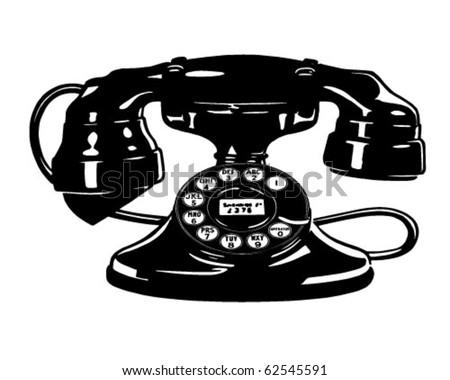 Retro Telephone 4 - Clipart Illustration