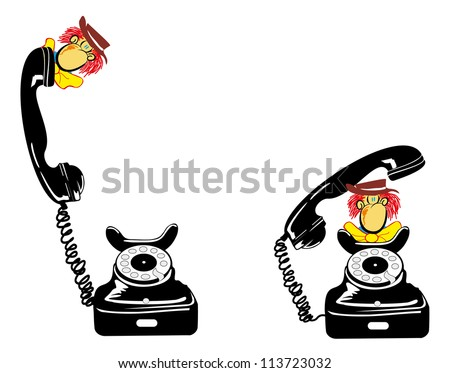 retro telephone with cartoon character