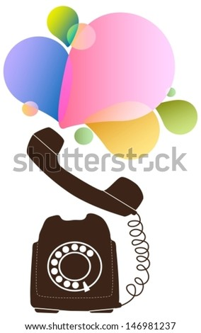 Retro telephone with color drops, Vector