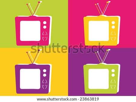 Retro Television in Vibrant Colors.Vector file format.
