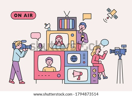 Retro televisions are piled up. There are people around you who report news. flat design style minimal vector illustration.