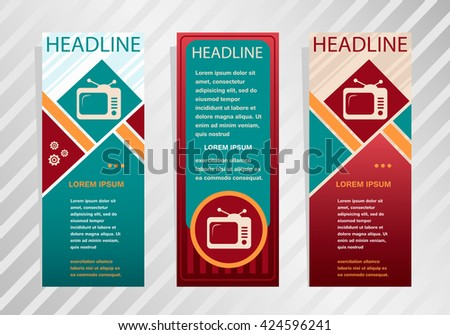 Retro Televisor On Vertical Banner. Modern Abstract Flyer, Banner