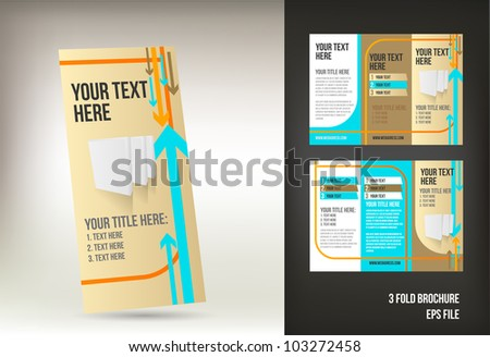 retro three fold brochure template