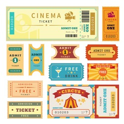 Retro tickets set. Temlate vector illustration for cinema admission ticket and other events such as circus, movie, theater, party and concert.