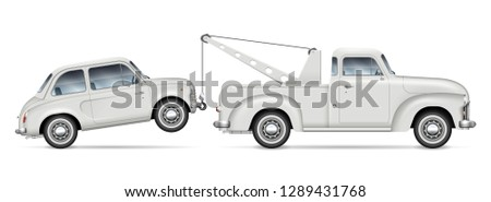 Retro tow truck towing a small car, view from side. Roadside assistance lorry with vintage mini car on white background. All elements in the groups on separate layers for easy editing and recolor.