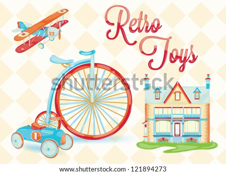 retro toy (doll house, bicycle, car, plane, chair, stylized vintage toys, baby) with the background of rhombuses